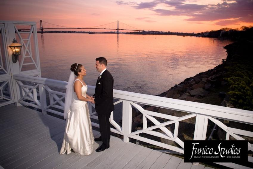 bride and groom at marina del rey bronx